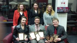 MAFA. (Front: Rebecca Blake, Spencer Marcum, and Josh Fleming. Back: Katie Reining, Cassie Kuberski, and Taylor Rossi)