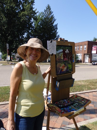 St. Louis artist Jane McDowell at her French easel.