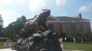 McKendree University's NEW Bearcat Statue, located in front of Holman Library. Photo Credit: Kimberly Bennett