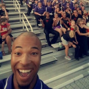 Matthew Roberts with the Marching Bearcats at an exciting football game. Photo Credit: Matthew Roberts
