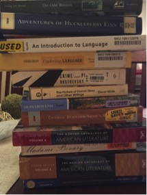 Stacking over a foot tall, one semester's books can appear intimidating. Photo Credit: Erica Pour