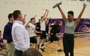 Coach Sanlin pumped up after winning a match. Photo credit: McKendree University
